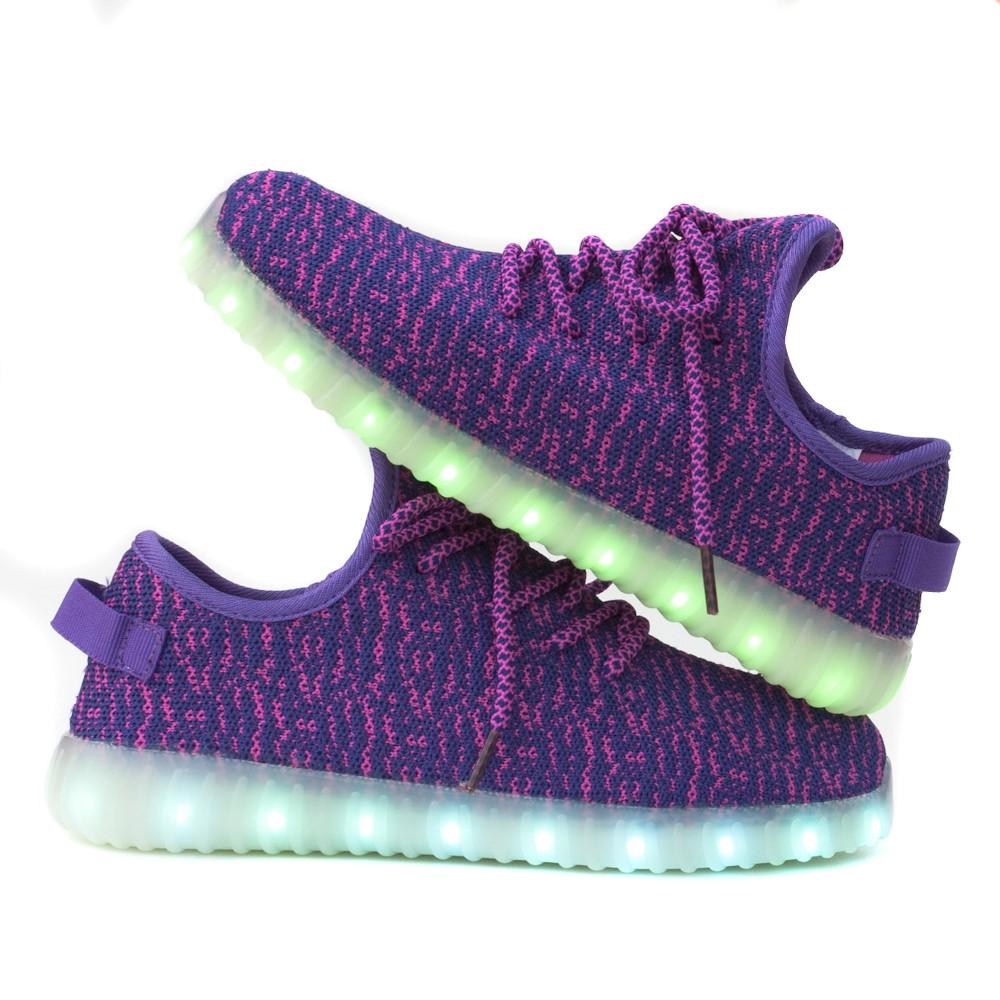 Wholesale TEEMWAY TWLS07 LED Flashing Sneaker Purple Kids EU 28-34 12 Pairs