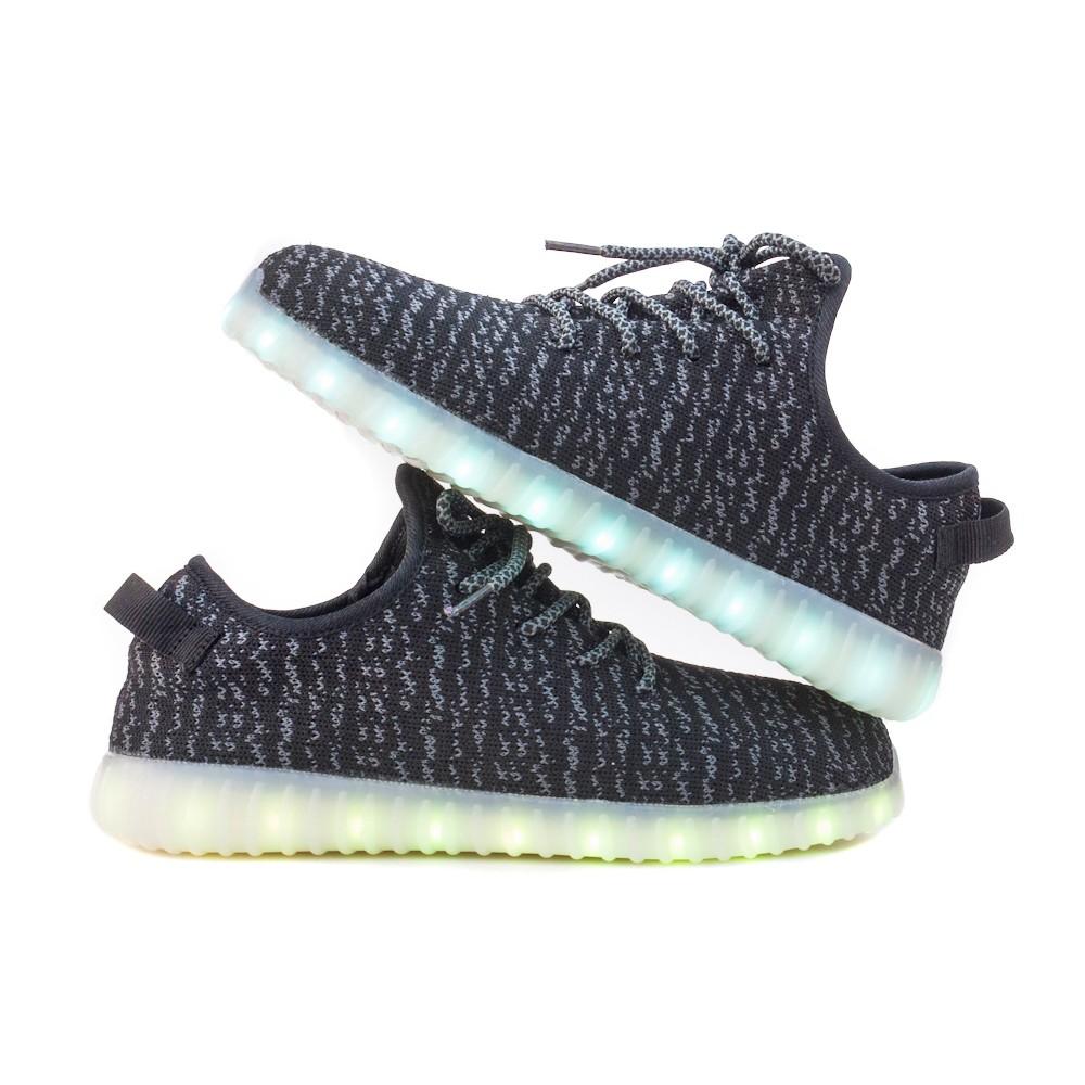 Wholesale TEEMWAY TWLS07 LED Flashing Sneaker Black Toddle EU 24-27 12 Pairs