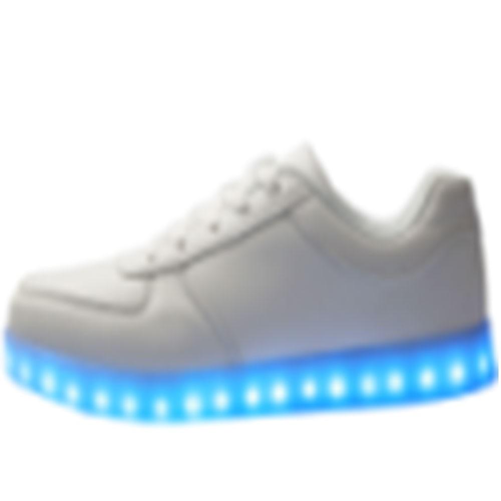 Wholesale TEEMWAY TWLS01 LED Flashing Oxford Unisex or Kids 12pairs/carton-White-Women's EU 35-40 12 Pairs